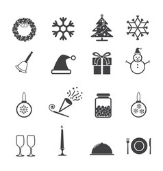 christmas new year party icons set vector image