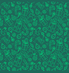christmas pattern with presents and sweets vector image