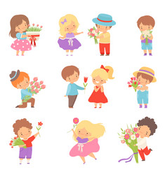 collection cute little boys giving flowers to vector image