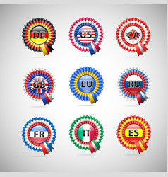 Collection of flag badges different countries vector
