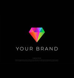 colorful modern minimalist diamond gem stone logo vector image