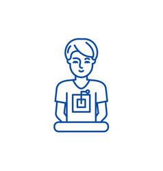 Computer specialist line icon concept computer vector