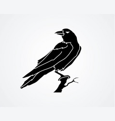 Crow on tree graphic vector