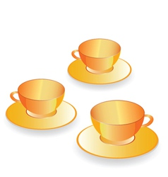 Cup for coffee gold set vector