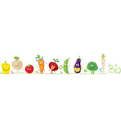 Cute bio vegetable cartoon for babies standing vector