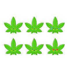 cute funny happy weed marijuana leaf vector image