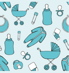 cute seamless pattern with childrens things for vector image
