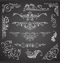 Dark flourish border corner and frame elements vector