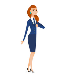 Disappointed caucasian stewardess with thumb down vector