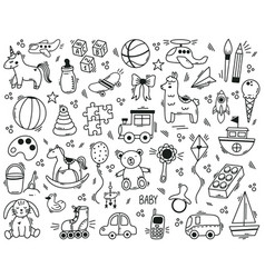 doodle cute kids toys hand drawn elements vector image