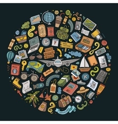 Doodle set of travel theme items vector
