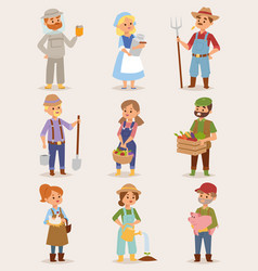 Farmers cartoon people with organic village vector
