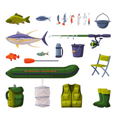 Fishing equipment set fishing tools apparel vector