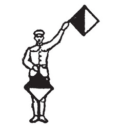 Flag signal for letter e or number 5 vintage vector