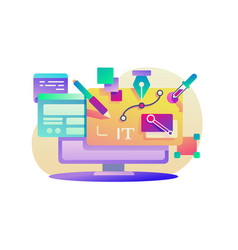 Flat design app for computer with program vector
