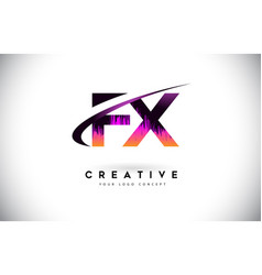 Fx f x grunge letter logo with purple vibrant vector