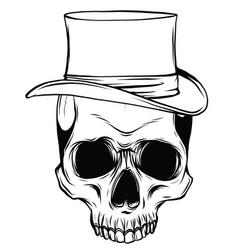 Gangster skull tattoo death head with cigar vector