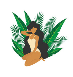 Girl sitting among tropical leaves vacation design vector
