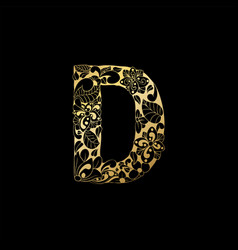 golden ornamental alphabet letter d font vector image