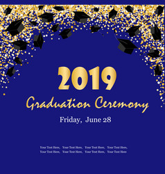 Graduation ceremony banner with graduate caps vector