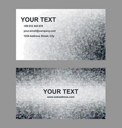 Grey triangle mosaic business card template vector