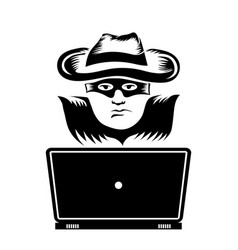 Hacker with laptop icon isolated on white vector