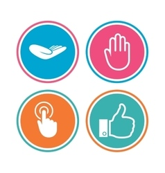 Hand icons Like thumb up and click here symbols vector