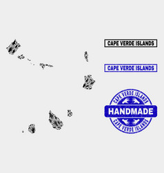 Handmade collage cape verde islands map and vector