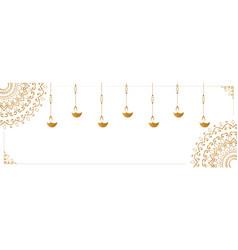 Hanging diya lamp on white banner design vector