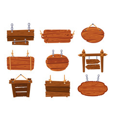 hanging wood signs blank antique wooden sign vector image