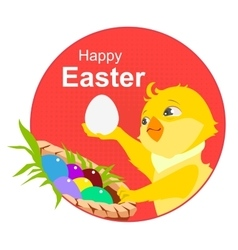 Happy easter yellow chicken and easter eggs vector