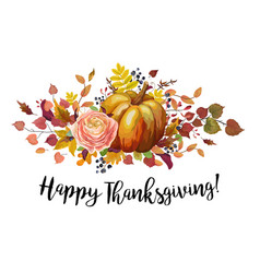 Happy thanksgiving floral greeting card poster vector