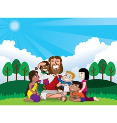 jesus and kids vector image