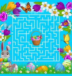 kids maze game labyrinth help bunny choose way vector image