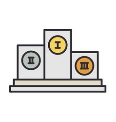 Line color pedestal winner award icon vector