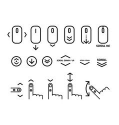 Linear pictograph scroll down scroll down up vector
