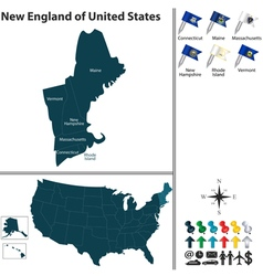 Map of New England vector