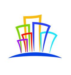 modern buildings logo colorful design vector image