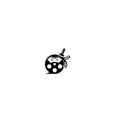 movie reel ninja logo icon vector image