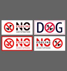 No dog fouling sign modern sticker set for urban vector