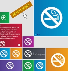 No smoking icon sign buttons Modern interface vector