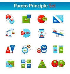Pareto principle flat icons set vector