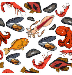 Pattern with set of colored sea food products vector
