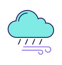 Rainy and windy weather color icon vector