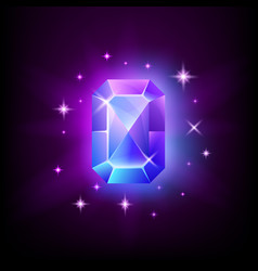 rectangular blue shining gemstone with magical vector image