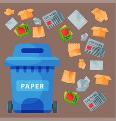 recycling garbage paper elements trash tires vector image