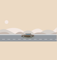 Retro car from 80s traveling on road vector