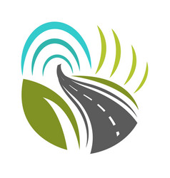 road going forward and turning with greenery on vector image