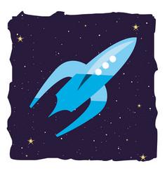 Rocket spaceship galaxy stars vector