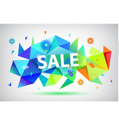 Sale - summer spring faceted 3d banner vector